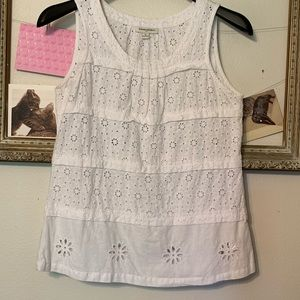 Banana Republic Tops - Banana Republic White Eyelet Tank Top Medium